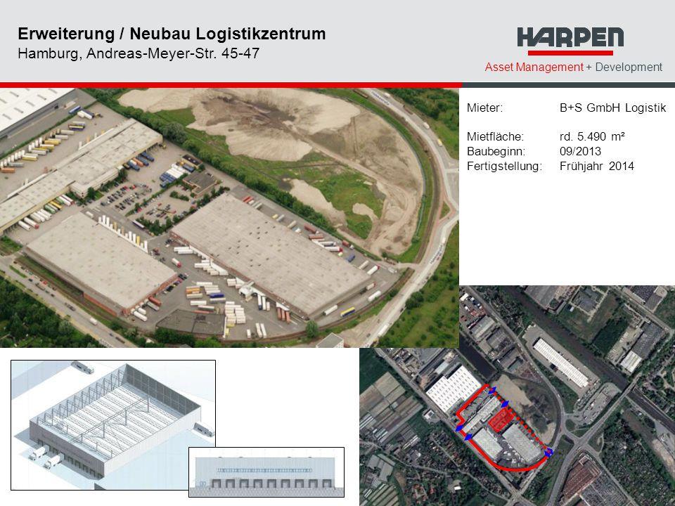 Asset Management + Development Mieter: B+S GmbH Logistik Mietfläche: rd. 5.490 m² Baubeginn: 09/2013 Fertigstellung: Frühjahr 2014 Erweiterung / Neuba