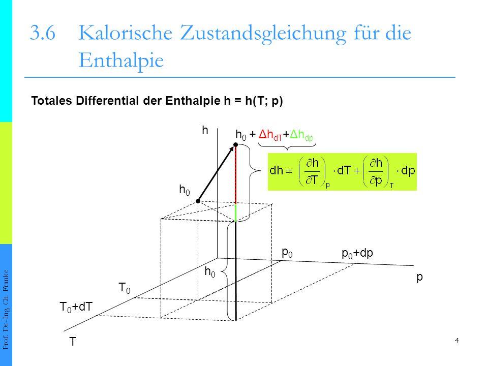 4 3.6Kalorische Zustandsgleichung für die Enthalpie Totales Differential der Enthalpie h = h(T; p) h0h0 h 0 + Δh dT +Δh dp T p h T0T0 p0p0 T 0 +dT p 0