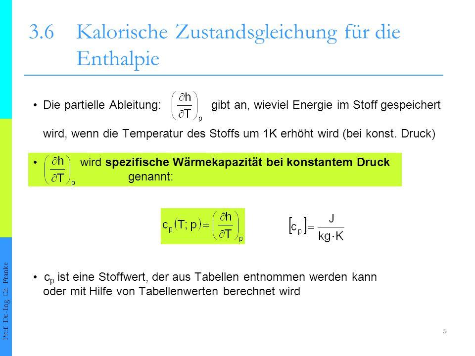 5 3.6Kalorische Zustandsgleichung für die Enthalpie Prof. Dr.-Ing. Ch. Franke Die partielle Ableitung: gibt an, wieviel Energie im Stoff gespeichert w