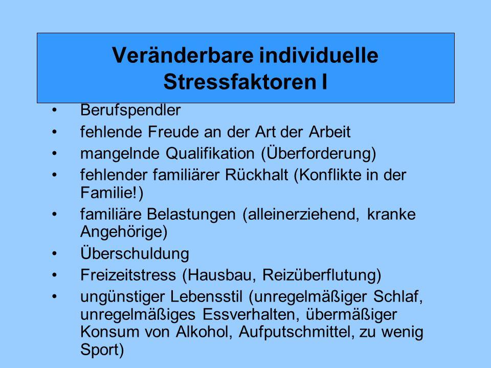 Veränderbare individuelle Stressfaktoren I Berufspendler fehlende Freude an der Art der Arbeit mangelnde Qualifikation (Überforderung) fehlender famil