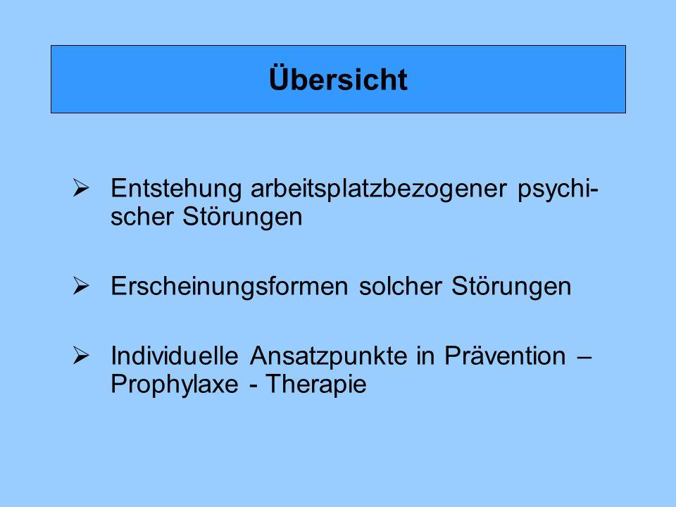 Übersicht  Entstehung arbeitsplatzbezogener psychi- scher Störungen  Erscheinungsformen solcher Störungen  Individuelle Ansatzpunkte in Prävention