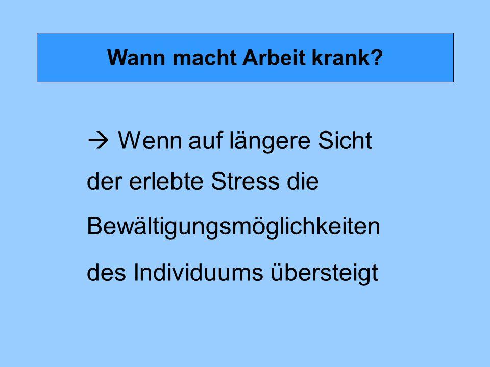 Wann macht Arbeit krank?  Wenn auf längere Sicht der erlebte Stress die Bewältigungsmöglichkeiten des Individuums übersteigt