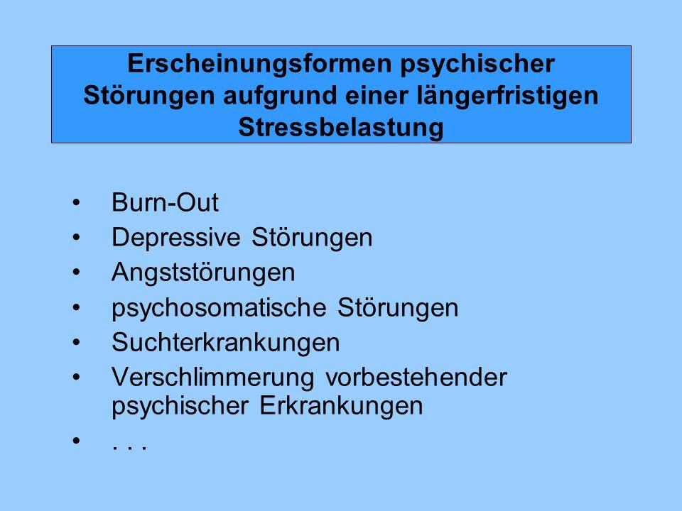 Erscheinungsformen psychischer Störungen aufgrund einer längerfristigen Stressbelastung Burn-Out Depressive Störungen Angststörungen psychosomatische