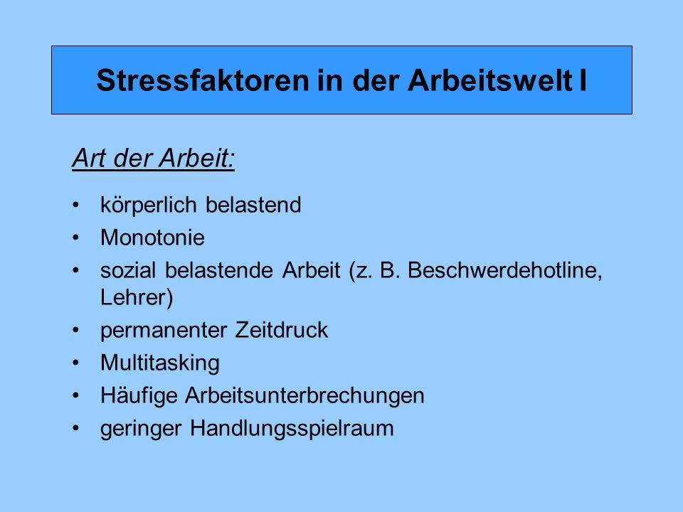 Stressfaktoren in der Arbeitswelt II Arbeitsbedingungen: prekäre Arbeitsverhältnisse Zeitarbeit Befristete Arbeitsverhältnisse Schichtarbeit ständige Erreichbarkeit kontinuierliche externe Kontrolle