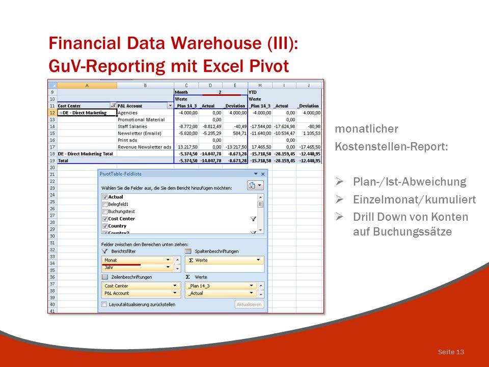 Financial Data Warehouse (III): GuV-Reporting mit Excel Pivot monatlicher Kostenstellen-Report:  Plan-/Ist-Abweichung  Einzelmonat/kumuliert  Drill