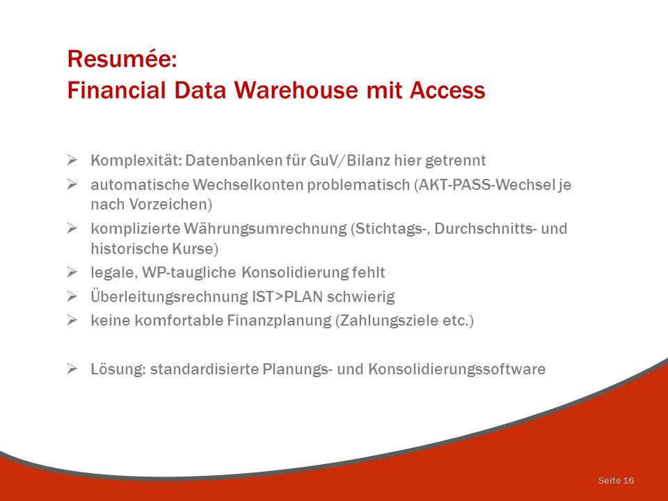 Resumée: Financial Data Warehouse mit Access  Komplexität: Datenbanken für GuV/Bilanz hier getrennt  automatische Wechselkonten problematisch (AKT-P
