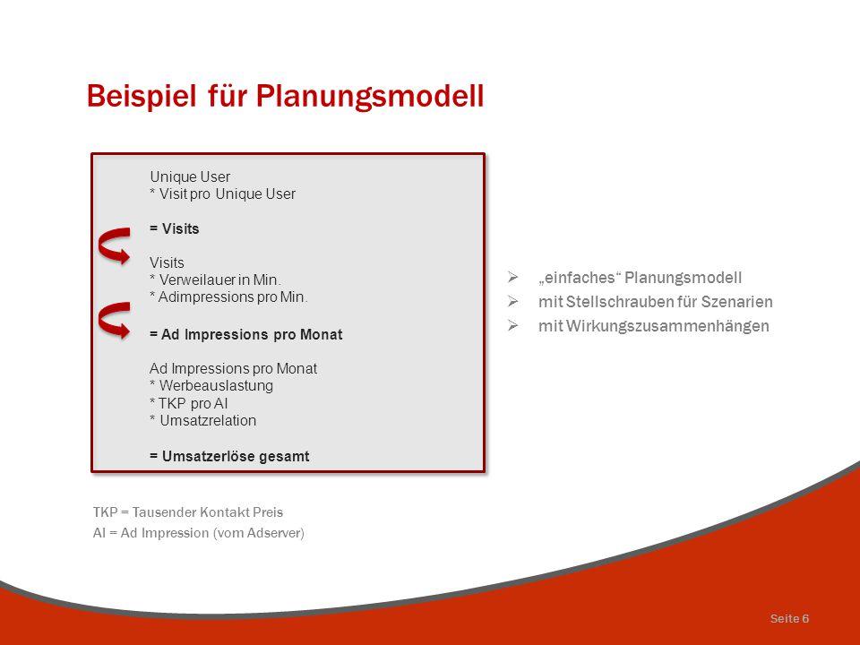 """Beispiel für Planungsmodell  """"einfaches"""" Planungsmodell  mit Stellschrauben für Szenarien  mit Wirkungszusammenhängen TKP = Tausender Kontakt Preis"""