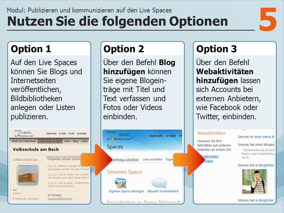 5 Option 1 Auf den Live Spaces können Sie Blogs und Internetseiten veröffentlichen, Bildbibliotheken anlegen oder Listen publizieren.