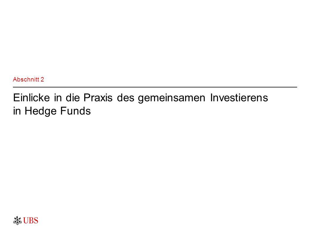 Einlicke in die Praxis des gemeinsamen Investierens in Hedge Funds Abschnitt 2