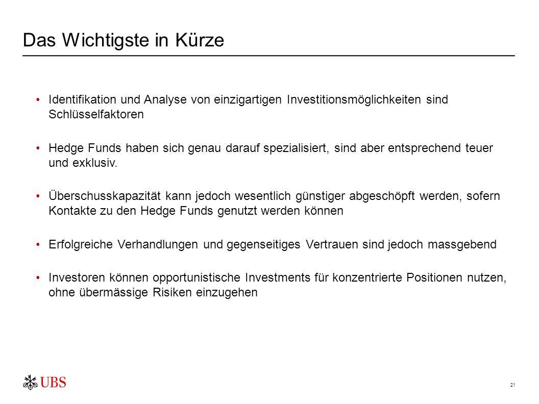 21 Identifikation und Analyse von einzigartigen Investitionsmöglichkeiten sind Schlüsselfaktoren Hedge Funds haben sich genau darauf spezialisiert, si