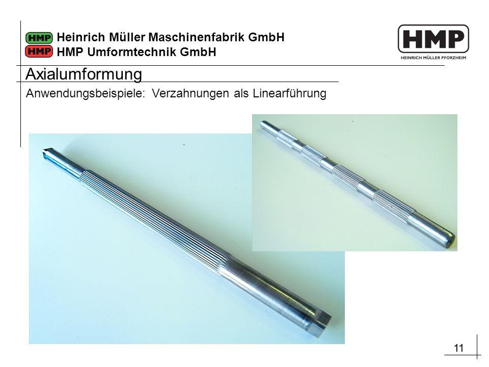 11 Heinrich Müller Maschinenfabrik GmbH HMP Umformtechnik GmbH Anwendungsbeispiele: Verzahnungen als Linearführung Axialumformung