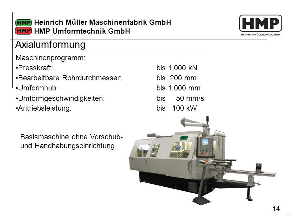 14 Heinrich Müller Maschinenfabrik GmbH HMP Umformtechnik GmbH Maschinenprogramm: Presskraft:bis 1.000 kN Bearbeitbare Rohrdurchmesser: bis 200 mm Umf