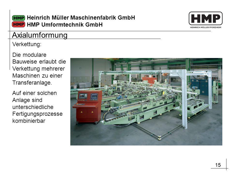 15 Heinrich Müller Maschinenfabrik GmbH HMP Umformtechnik GmbH Verkettung: Die modulare Bauweise erlaubt die Verkettung mehrerer Maschinen zu einer Tr