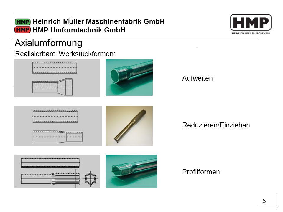 55 Heinrich Müller Maschinenfabrik GmbH HMP Umformtechnik GmbH Realisierbare Werkstückformen: Reduzieren/Einziehen Aufweiten Profilformen Axialumformu