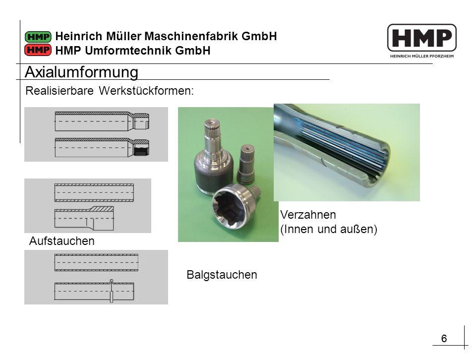 66 Heinrich Müller Maschinenfabrik GmbH HMP Umformtechnik GmbH Balgstauchen Verzahnen (Innen und außen) Aufstauchen Realisierbare Werkstückformen: Axi