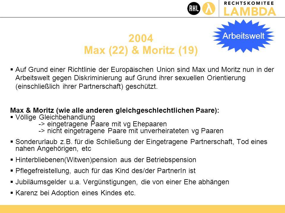 2004 Max (22) & Moritz (19)  Auf Grund einer Richtlinie der Europäischen Union sind Max und Moritz nun in der Arbeitswelt gegen Diskriminierung auf Grund ihrer sexuellen Orientierung (einschließlich ihrer Partnerschaft) geschützt.
