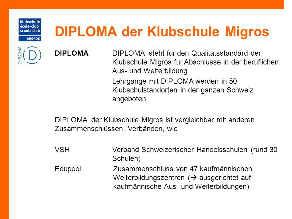 DIPLOMA der Klubschule Migros DIPLOMADIPLOMA steht für den Qualitätsstandard der Klubschule Migros für Abschlüsse in der beruflichen Aus- und Weiterbi
