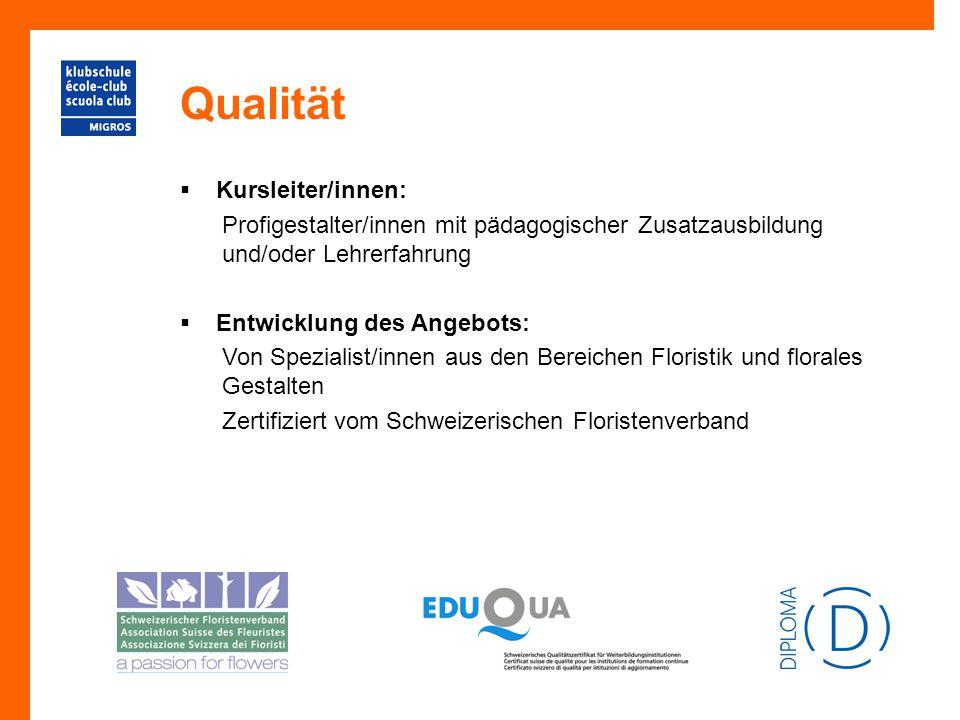 Qualität  Kursleiter/innen: Profigestalter/innen mit pädagogischer Zusatzausbildung und/oder Lehrerfahrung  Entwicklung des Angebots: Von Spezialist