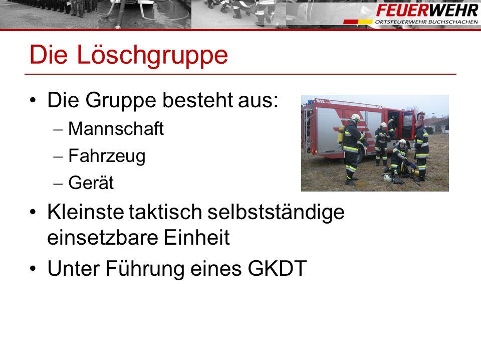 Die Löschgruppe Die Gruppe besteht aus:  Mannschaft  Fahrzeug  Gerät Kleinste taktisch selbstständige einsetzbare Einheit Unter Führung eines GKDT
