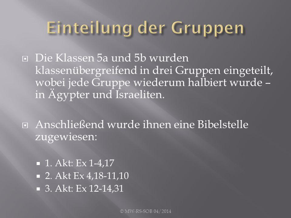  Die Klassen 5a und 5b wurden klassenübergreifend in drei Gruppen eingeteilt, wobei jede Gruppe wiederum halbiert wurde – in Ägypter und Israeliten.