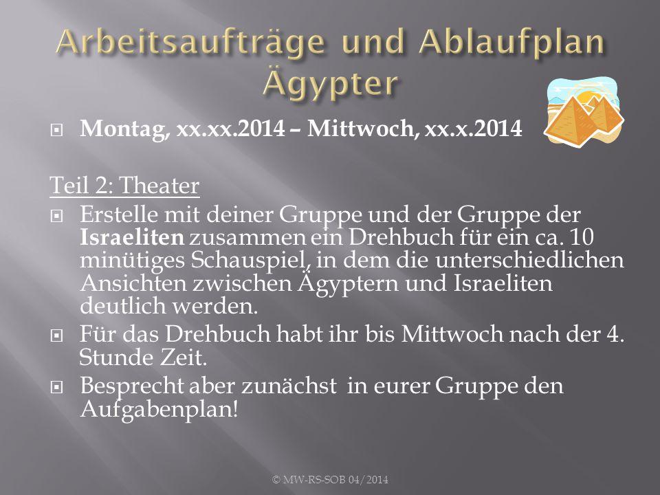  Montag, xx.xx.2014 – Mittwoch, xx.x.2014 Teil 2: Theater  Erstelle mit deiner Gruppe und der Gruppe der Israeliten zusammen ein Drehbuch für ein ca.