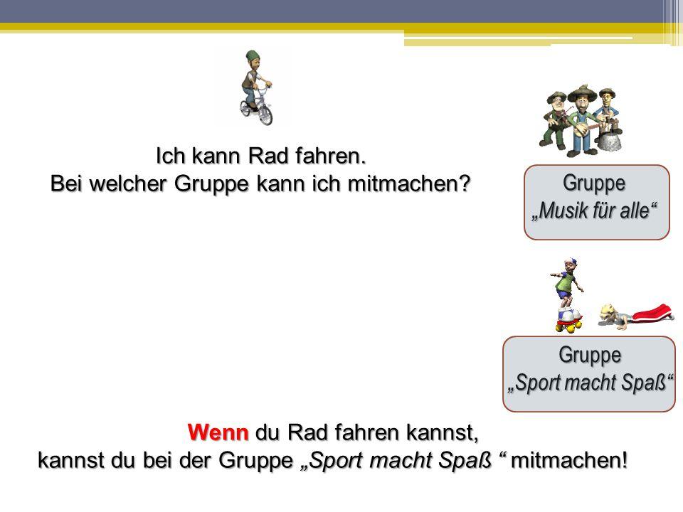 """Gruppe """"Musik für alle Gruppe """"Sport macht Spaß Ich kann Rad fahren."""