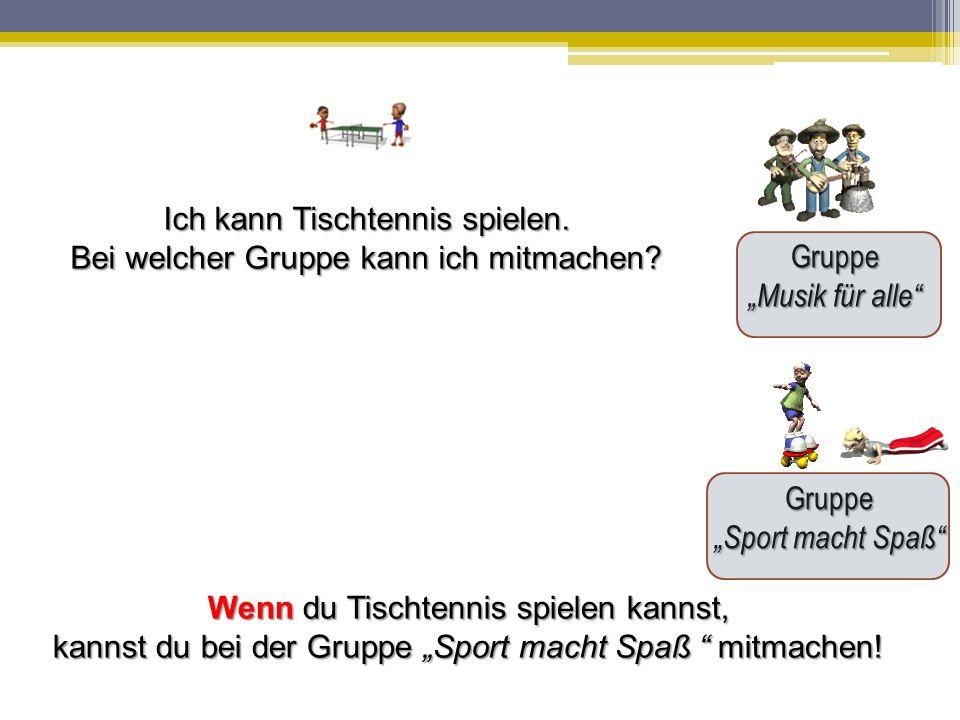 """Gruppe """"Musik für alle Gruppe """"Sport macht Spaß Ich kann Tischtennis spielen."""