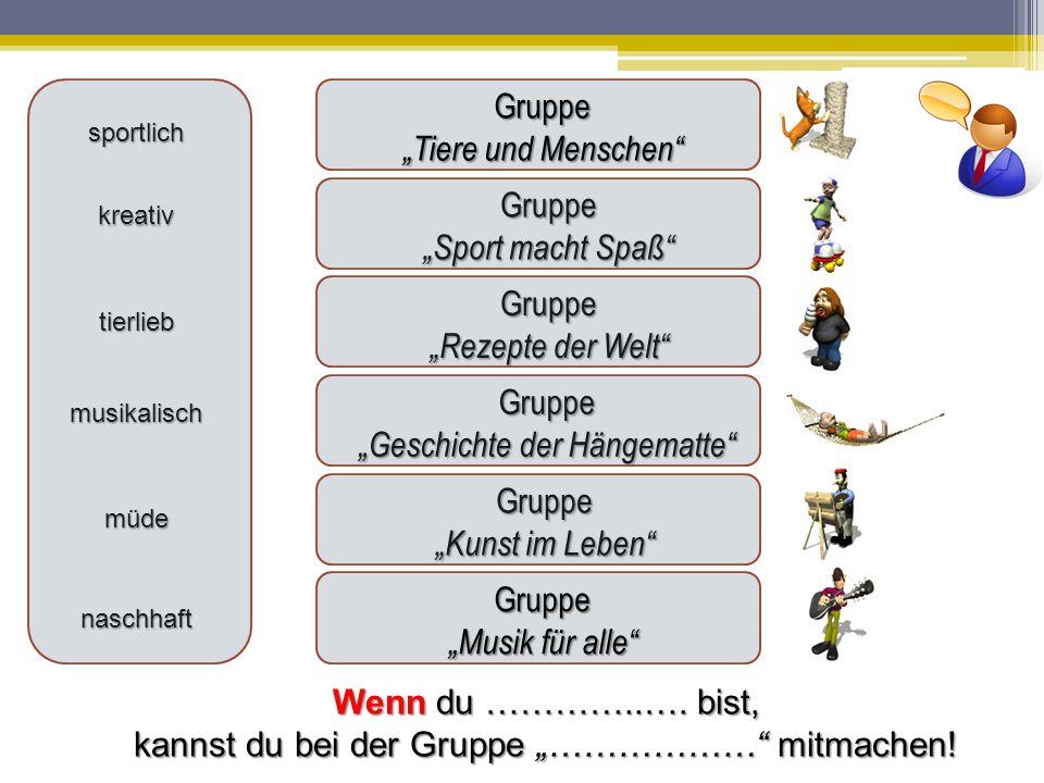 """Gruppe """"Musik für alle Gruppe """"Sport macht Spaß Ich kann singen."""
