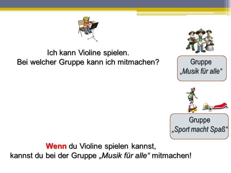 """Gruppe """"Musik für alle Gruppe """"Sport macht Spaß Ich kann Violine spielen."""