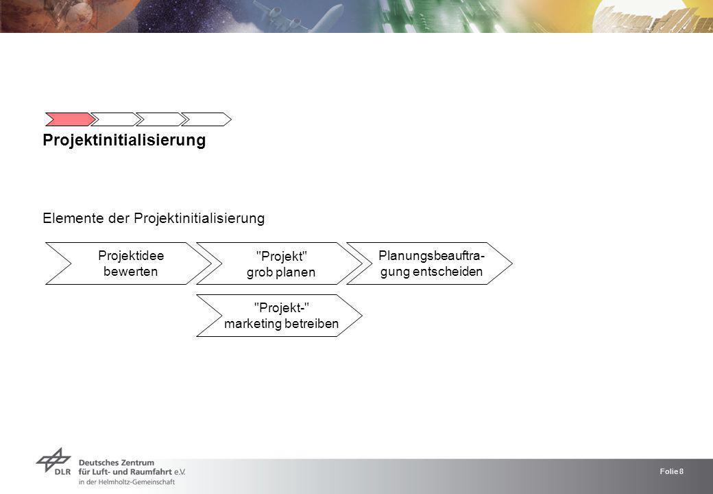 Folie 9 Projektinitialisierung Eine Einschätzung darüber, ob die Idee es grundsätzlich wert ist, als Projekt aufgesetzt zu werden, verschaffen Maßnahmen wie die grob Skizzierung des Zielrahmens, des Vorhabens- nutzens, die Prüfung der Machbarkeit und die Analyse des Projektumfelds.