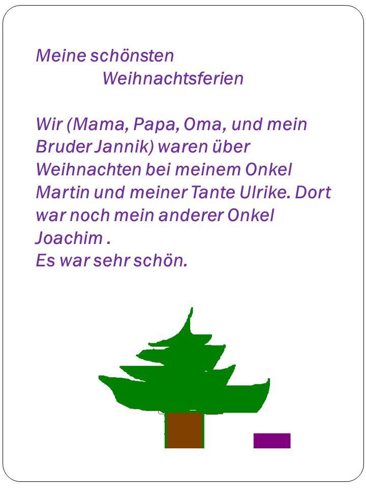 Meine schönsten Weihnachtsferien Wir (Mama, Papa, Oma, und mein Bruder Jannik) waren über Weihnachten bei meinem Onkel Martin und meiner Tante Ulrike.