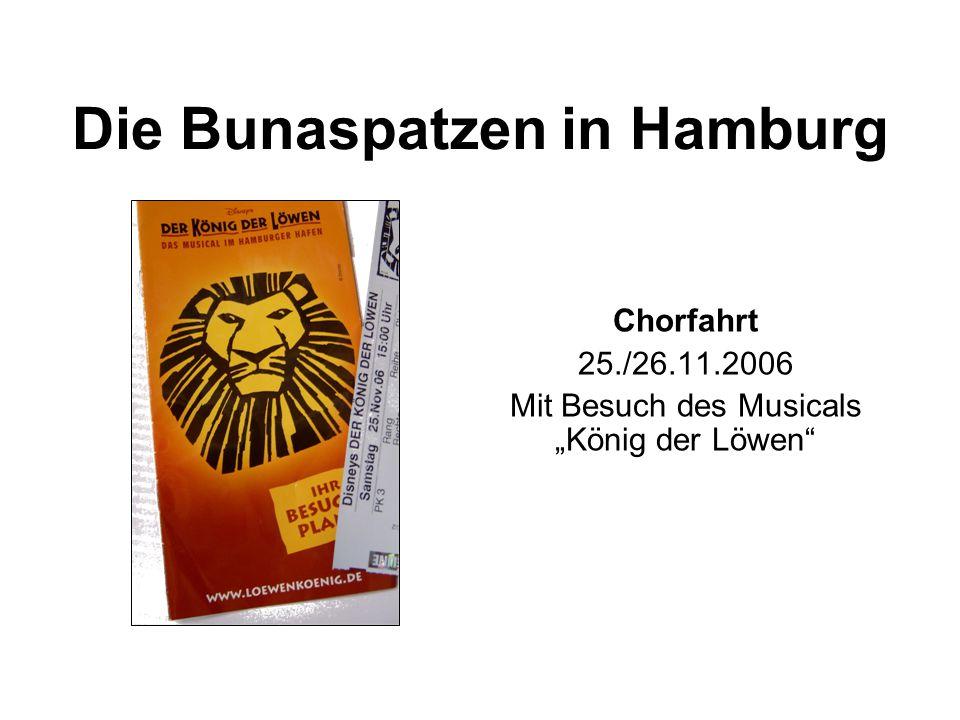 """Die Bunaspatzen in Hamburg Chorfahrt 25./26.11.2006 Mit Besuch des Musicals """"König der Löwen"""""""