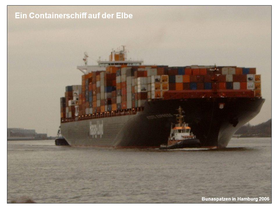Bunaspatzen in Hamburg 2006 Ein Containerschiff auf der Elbe