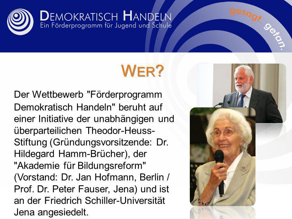 """D IE A USSCHREIBUNG Seit 1990 wird der Wettbewerb jährlich in ganz Deutschland ausgeschrieben, vom Bundesbildungsministerium, von einer Reihe von Bundesländern und von den Stiftungen unterstützt und jährlich in einer anderen Stadt mit einer dreitätigen """"Lernstatt Demokratie abgeschlossen."""