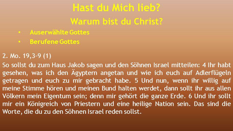 2. Mo. 19,3-9 (1) So sollst du zum Haus Jakob sagen und den Söhnen Israel mitteilen: 4 Ihr habt gesehen, was ich den Ägyptern angetan und wie ich euch