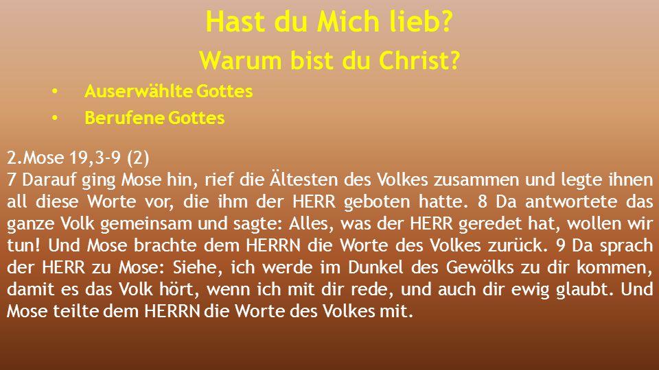 2.Mose 19,3-9 (2) 7 Darauf ging Mose hin, rief die Ältesten des Volkes zusammen und legte ihnen all diese Worte vor, die ihm der HERR geboten hatte. 8
