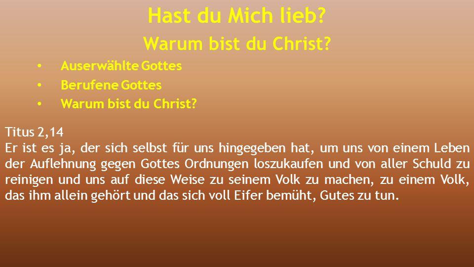 Titus 2,14 Er ist es ja, der sich selbst für uns hingegeben hat, um uns von einem Leben der Auflehnung gegen Gottes Ordnungen loszukaufen und von alle