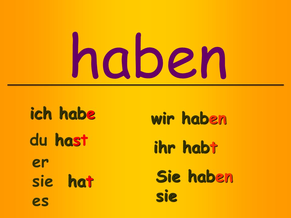 Helping verb in 2 nd position Past participle at the end of the sentence haben OR sein