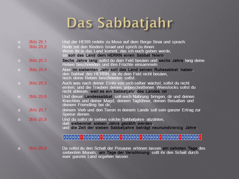  3Mo 25,1Und der HERR redete zu Mose auf dem Berge Sinai und sprach:  3Mo 25,2Rede mit den Kindern Israel und sprich zu ihnen: Wenn ihr in das Land