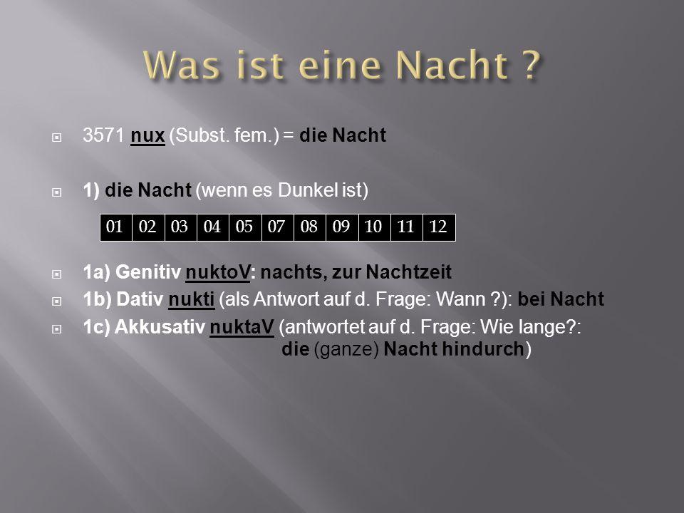  3571 nux (Subst. fem.) = die Nacht  1) die Nacht (wenn es Dunkel ist)  1a) Genitiv nuktoV: nachts, zur Nachtzeit  1b) Dativ nukti (als Antwort au