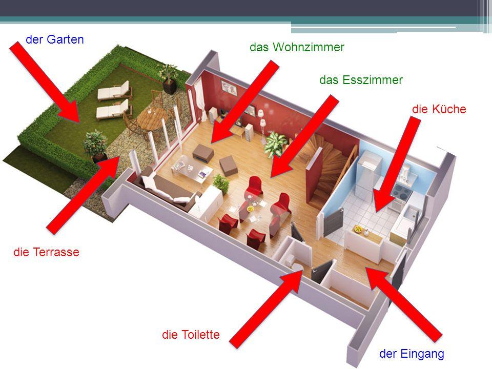 der Garten die Küche der Eingang die Toilette die Terrasse das Esszimmer das Wohnzimmer