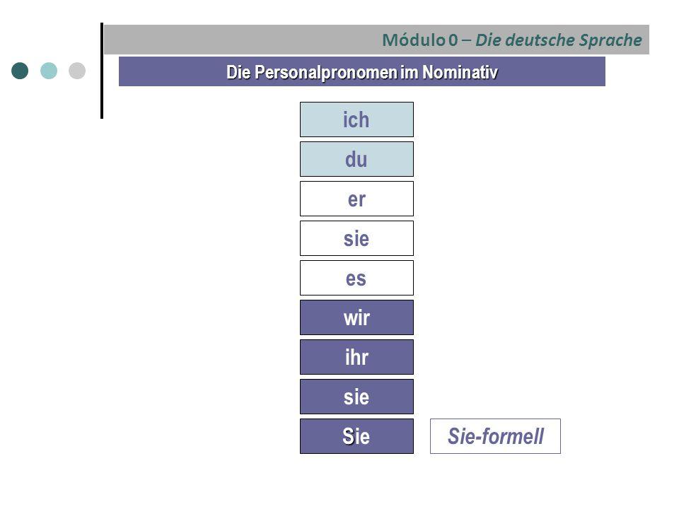 Die Personalpronomen im Nominativ ich du er sie es wir ihr sie S Sie Sie-formell Módulo 0 – Die deutsche Sprache