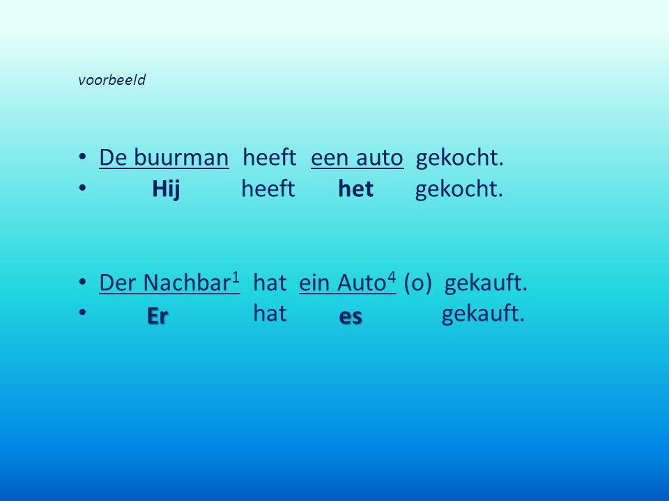 voorbeeld De buurman heeft een auto gekocht. Hij heeft het gekocht. Der Nachbar 1 hat ein Auto 4 (o) gekauft. hat gekauft. Eres