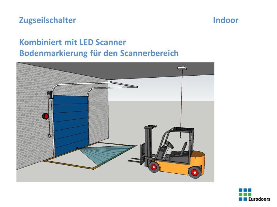 5 ZugseilschalterIndoor Kombiniert mit LED Scanner Bodenmarkierung für den Scannerbereich