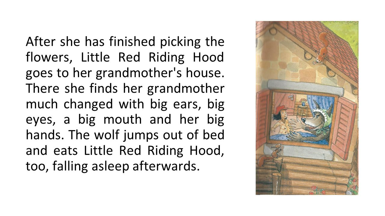 After she has finished picking the flowers, Little Red Riding Hood goes to her grandmother's house. There she finds her grandmother much changed with