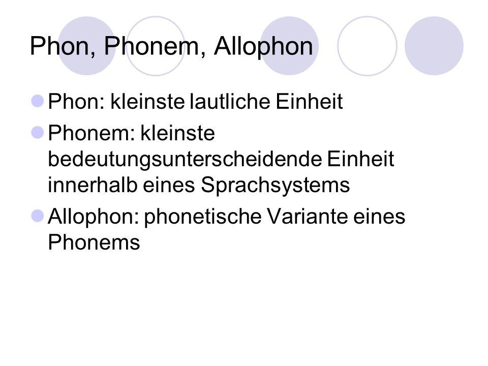 Notation Phon: zwischen eckigen Klammern [...] Phonem: zwischen Schrägstrichen /.../ Orthographische Wiedergabe: zwischen spitzen Klammern