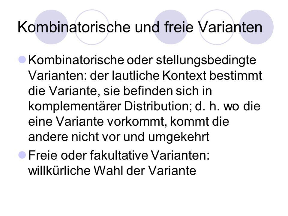 Beispiele aus dem Deutschen - [x] nach HZV und [a], [ç] sonst - abhängig vom Sprecher (Dialekt, Bühnenaussprache,...)