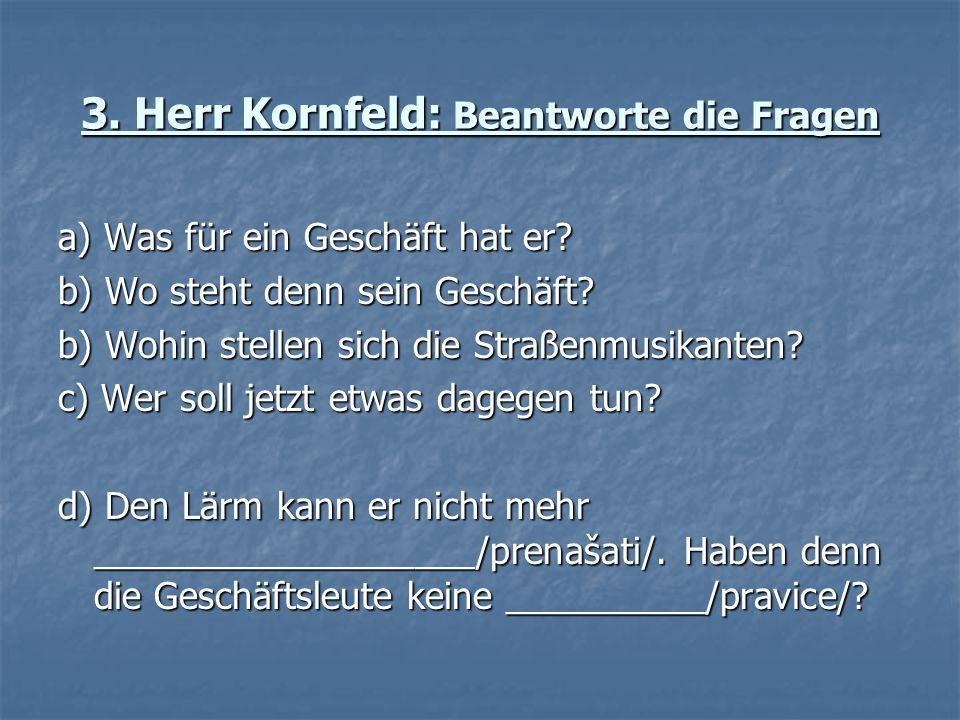 3. Herr Kornfeld: Beantworte die Fragen a) Was für ein Geschäft hat er? b) Wo steht denn sein Geschäft? b) Wohin stellen sich die Straßenmusikanten? c