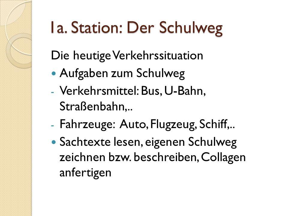 1a. Station: Der Schulweg Die heutige Verkehrssituation Aufgaben zum Schulweg - Verkehrsmittel: Bus, U-Bahn, Straßenbahn,.. - Fahrzeuge: Auto, Flugzeu