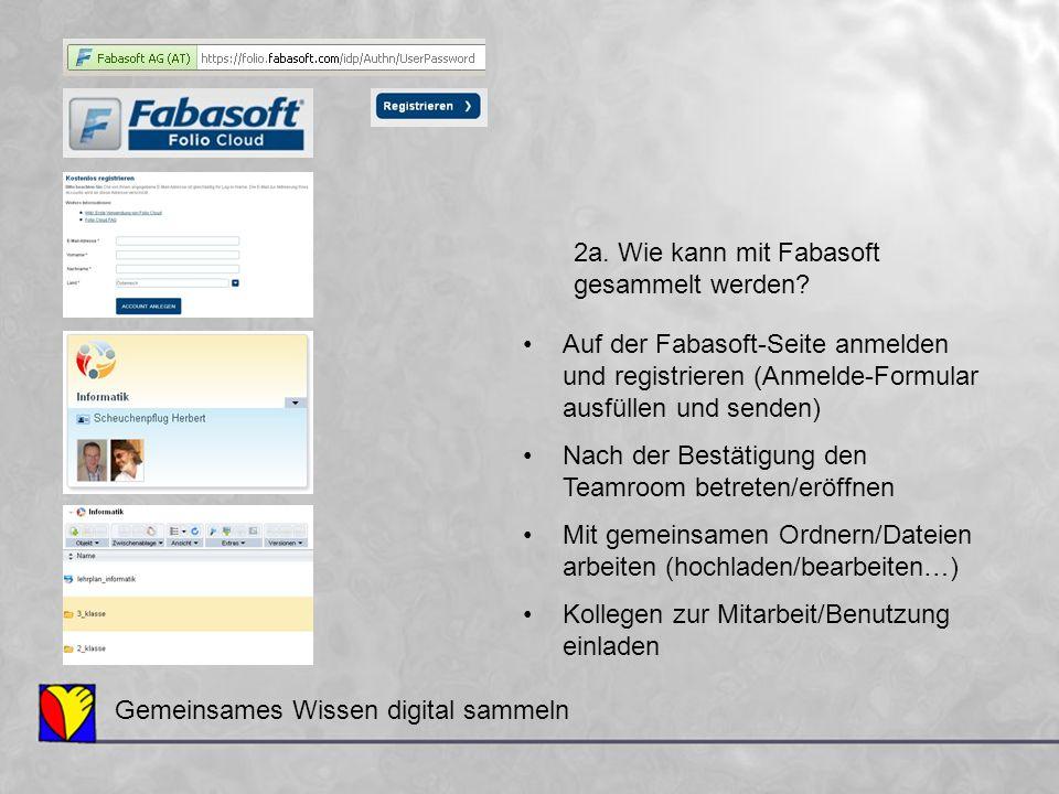 Auf der Fabasoft-Seite anmelden und registrieren (Anmelde-Formular ausfüllen und senden) Nach der Bestätigung den Teamroom betreten/eröffnen Mit gemei